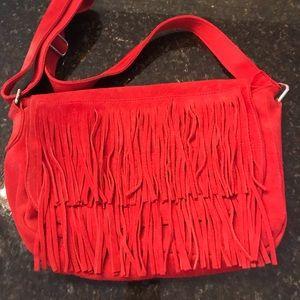 Handbags - Red Suede Fringe Purse Boutique